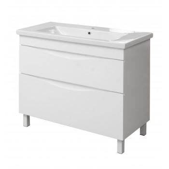 """Тумба підлогова """"Смайл 100"""" з умивальником """"Como 100"""", біла для ванної кімнати"""