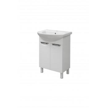 """Тумба підлогова """"Лаура 55"""" з умивальником """"Артеко 55"""", біла для ванної кімнати"""