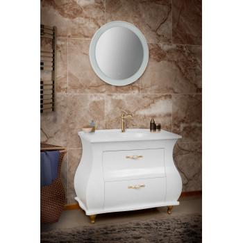 """Тумба підлогова """"Валенсія"""" з умивальником """"Романс 100"""", бежева із золотою/срібною патиною для ванної кімнати"""