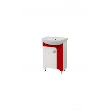 """Тумба підлогова """"Еліза 60"""" з умивальником """"Лібра 60"""", червона для ванної кімнати"""