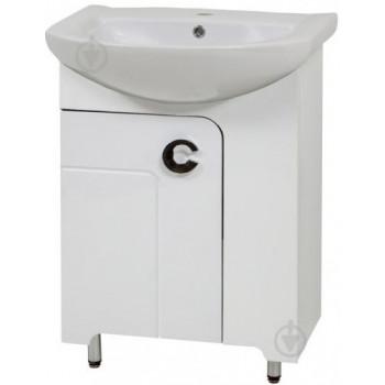 """Тумба підлогова """"Еліза 55"""" з умивальником """"Артеко 55"""", біла для ванної кімнати"""