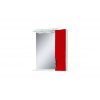 """Дзеркало """"Лаура 60"""" з шафкою, червоне для ванної кімнати"""