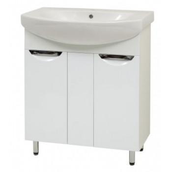 """Тумба підлогова """"Лаура 70"""" з умивальником """"Лотос 70"""", біла для ванної кімнати"""