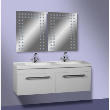 """Тумба консольна """"Подвійна 125"""" з умивальником, біла для ванної кімнати"""