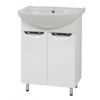 """Тумба підлогова """"Лаура 60"""" з умивальником """"Лібра 60"""", біла для ванної кімнати"""