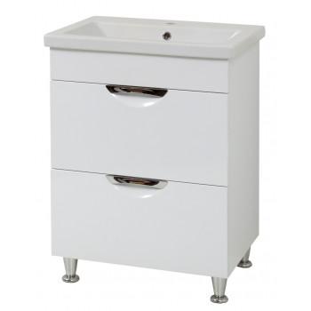 """Тумба підлогова """"Лаура 60-2"""" з умивальником """"Como 60"""", біла  для ванної кімнати"""