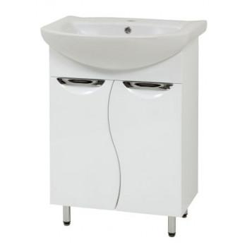 """Тумба підлогова """"Лаура 60-ХВ"""" з умивальником """"Лібра 60"""", біла для ванної кімнати"""