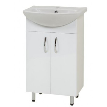 """Тумба підлогова """"Лібра 50"""" з умивальником """"Лібра 50"""", біла для ванної кімнати"""