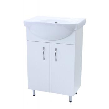 """Тумба підлогова """"Лотос 55"""" з умивальником """"Солас 56"""", біла для ванної кімнати"""