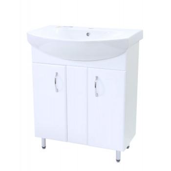 """Тумба підлогова """"Лотос 70"""" з умивальником """"Лотос 70"""", біла для ванної кімнати"""