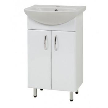 """Тумба підлогова """"LR-50"""" з умивальником """"Лібра 50"""", біла для ванної кімнати"""