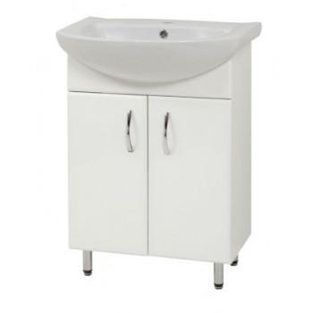 """Тумба підлогова """"LR-60"""" з умивальником """"Лібра 60"""", біла для ванної кімнати"""