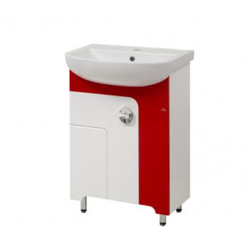 """Тумба підлогова """"Еліза 55"""" з умивальником """"Артеко 55"""", червона для ванної кімнати"""