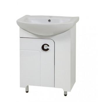 """Тумба підлогова """"Еліза 60"""" з умивальником """"Лібра 60"""", біла для ванної кімнати"""