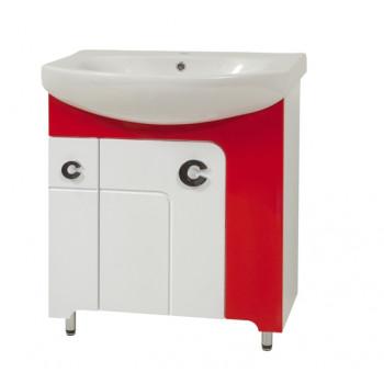 """Тумба підлогова """"Еліза 70"""" з умивальником """"Лотос 70"""", червона для ванної кімнати"""