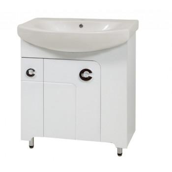 """Тумба підлогова """"Еліза 70"""" з умивальником """"Лотос 70"""", біла для ванної кімнати"""