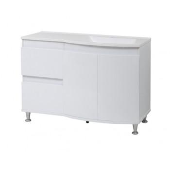 """Тумба підлогова """"Славута 120"""" з умивальником """"Славута 120"""", біла для ванної кімнати"""
