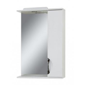 """Дзеркало """"Лаура 56"""" з шафкою, біле для ванної кімнати"""