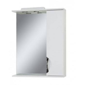 """Дзеркало """"Лаура 65"""" з шафкою, біле для ванної кімнати"""