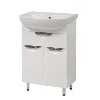 """Тумба підлогова """"Лаура 55-2"""" з умивальником """"Артеко 55"""", біла  для ванної кімнати"""