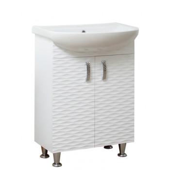 """Тумба підлогова """"3 Д-55"""" біла з умивальником """"Артеко 55"""" для ванної кімнати"""
