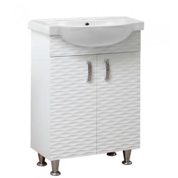 """Тумба підлогова """"3Д 65"""" з умивальником """"Акцент 65"""", біла для ванної кімнати"""