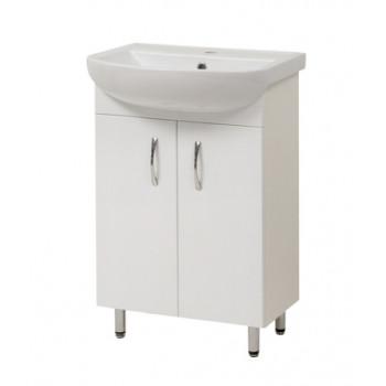 """Тумба підлогова """"Артеко 55"""" з умивальником """"Артеко 55"""", біла для ванної кімнати"""