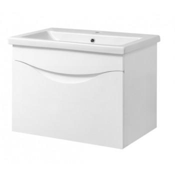 """Тумба консольна """"Смайл 60"""" з умивальником """"Como 60"""", біла для ванної кімнати"""