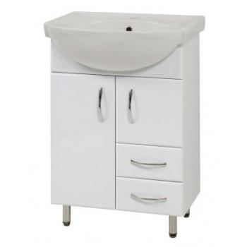 """Тумба підлогова """"SL-56"""" з умивальником """"Солас 56"""", біла для ванної кімнати"""