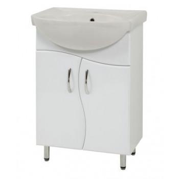"""Тумба підлогова """"SL-56-ХВ"""" з умивальником """"Солас 56"""", біла для ванної кімнати"""