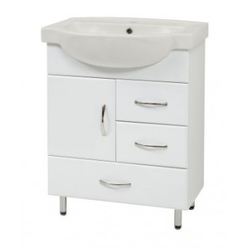"""Тумба підлогова """"SL-65"""", біла з умивальником """"Акцент 65"""" для ванної кімнати"""