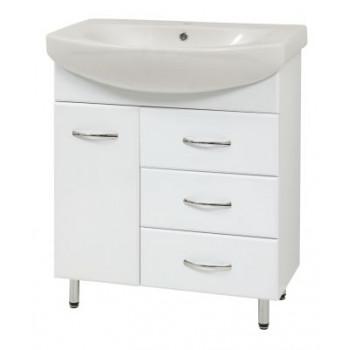"""Тумба під умивальник """"SL-70"""" з умивальником """"Лотос 70"""", біла для ванної кімнати"""