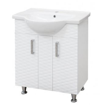 """Тумба підлогова """"3Д-70"""" з умивальником """"Nati 70"""", біла для ванної кімнати"""