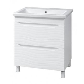 """Тумба підлогова """"Атланта 60"""" з умивальником """"Como 60"""", біла для ванної кімнати"""